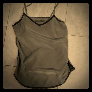 Zadig & Voltaire 100% silk & lace tank top